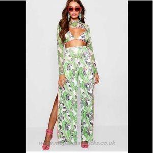 Boohoo Paris Hilton Palm Print Trouser